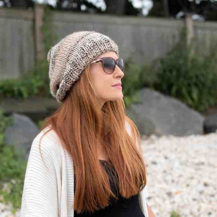 Tweed Slouch Hat Knitting Pattern