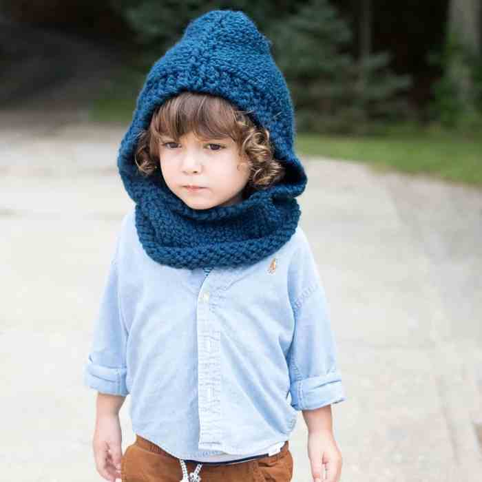 Easy Kids Hooded Cowl Knitting Pattern