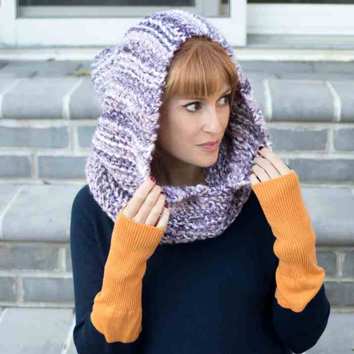 Easy Hood Knitting Pattern by Knitting Blogger Gina Michele