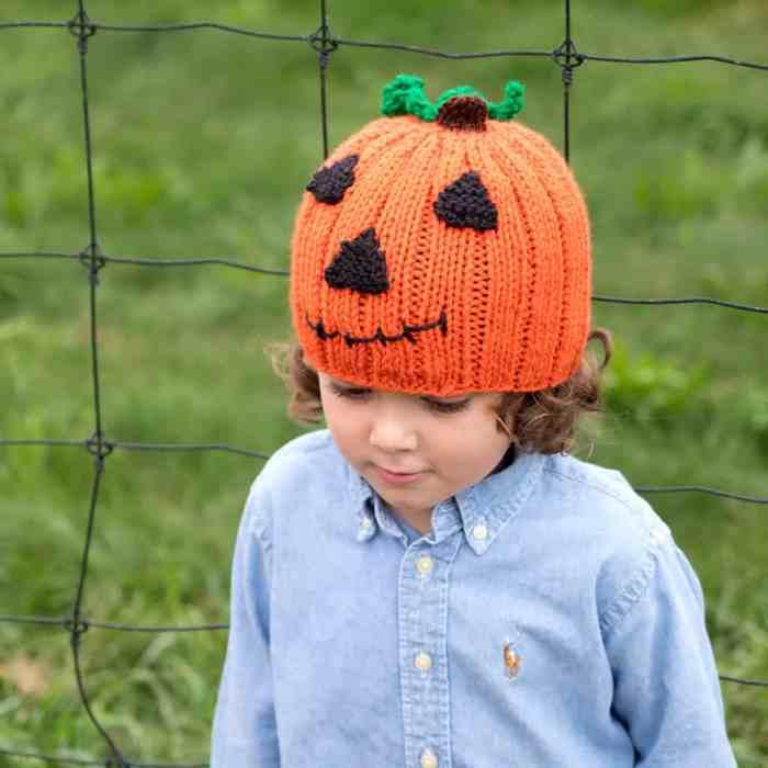 Jack O Lantern Hat Knitting Pattern by Gina Michele