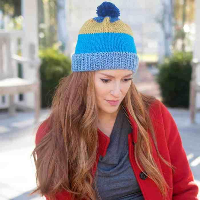 Caron X Pantone Stripe Hat Knitting Pattern