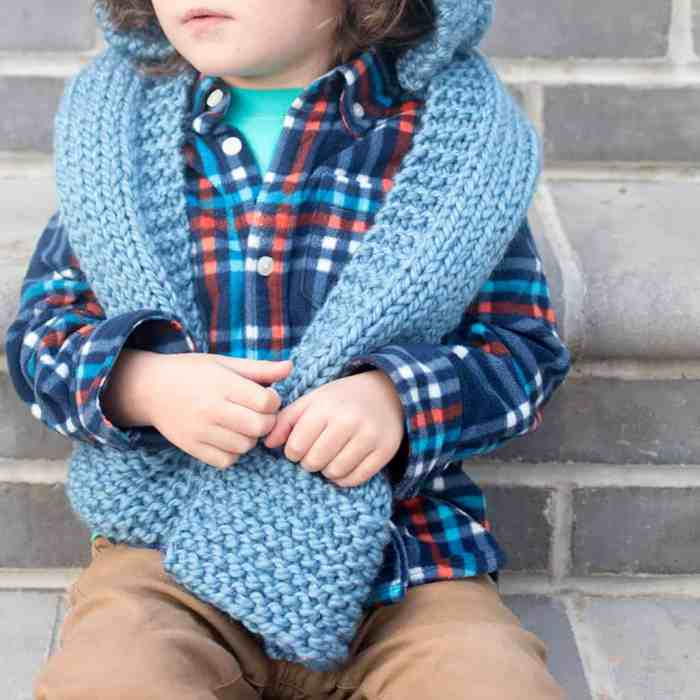 kid s hooded scarf knitting pattern gina michele