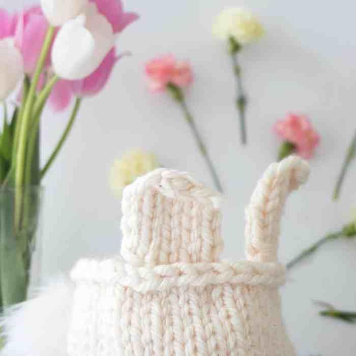 Easy Bunny Basket Knitting Pattern