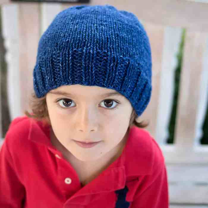 Free Kid's Basic Beanie Knitting Pattern by blogger Gina Michele