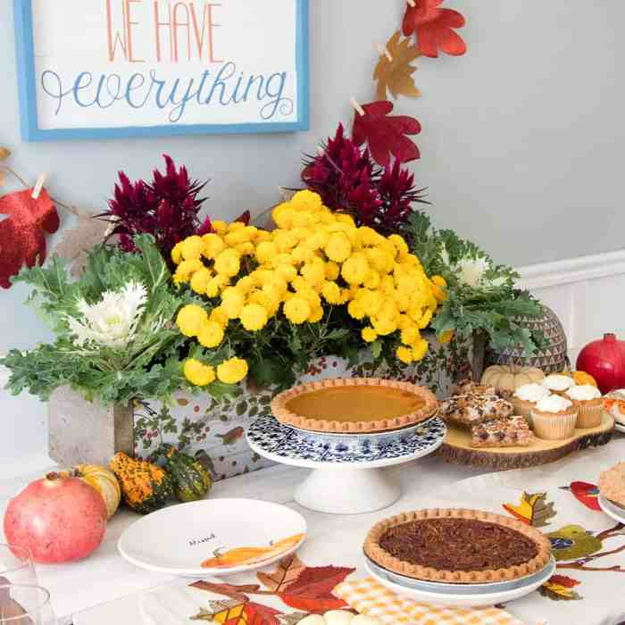 Thanksgiving Dessert Table and DIY Decoupage Centerpiece