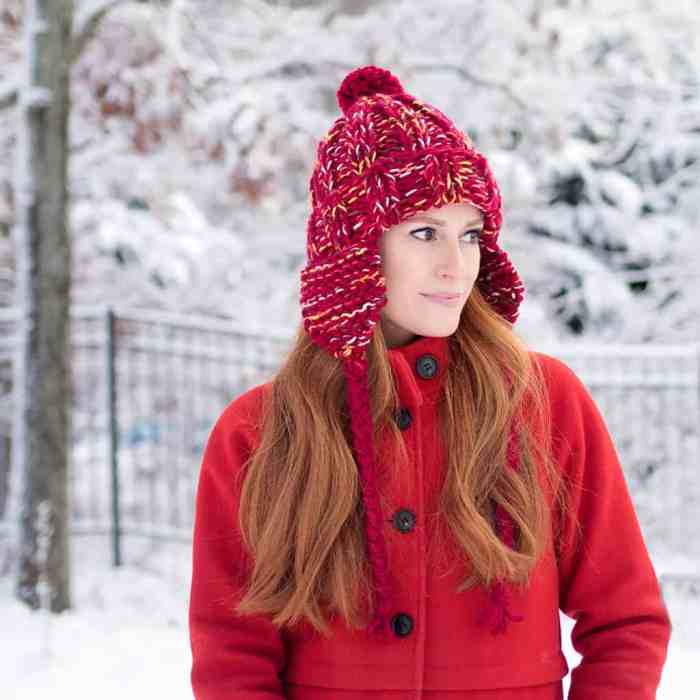 Chunky Ear Flap Hat Knitting Pattern