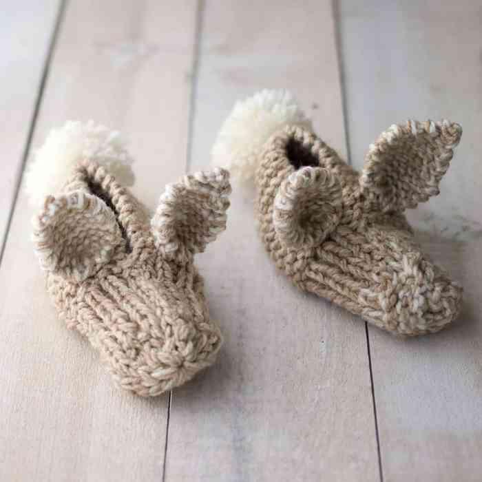 Easy Kids Bunny Slippers Knitting Pattern