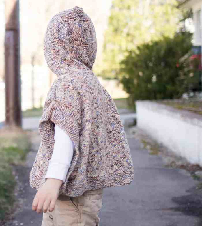 Easy Kids Hooded Poncho Knitting Pattern