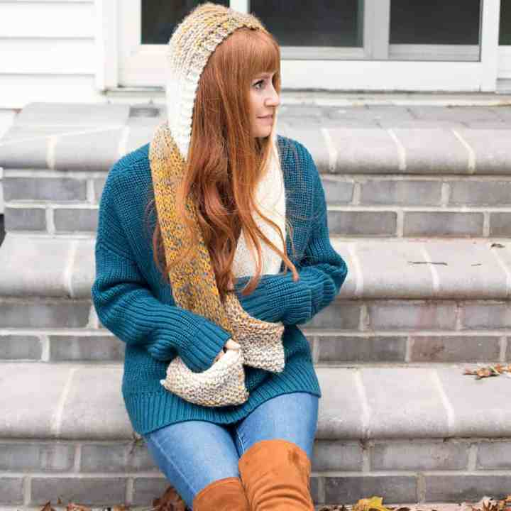 Easy Hooded Pocket Scarf Knitting Pattern