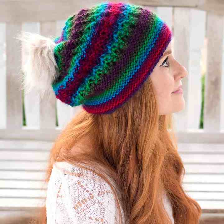 Flat Knit Slouchy Hat Free Knitting Pattern