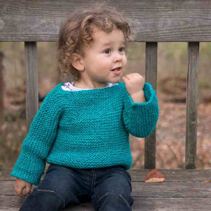 One Piece Garter Stitch Baby Sweater