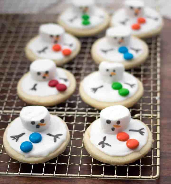 Vegan Melted Snowman Sugar Cookies