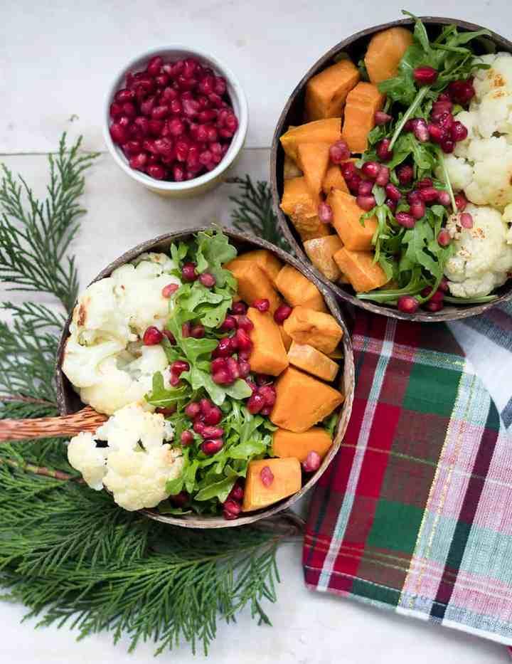 Vegan Roasted Sweet Potato Cauliflower Salad