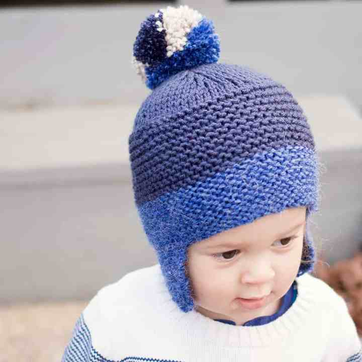 Flat Knit Toddler Ear Flap Hat