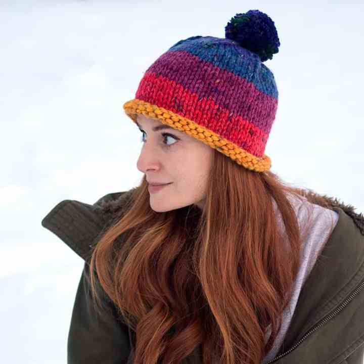 Easy Thick & Quick Hat Knitting Pattern