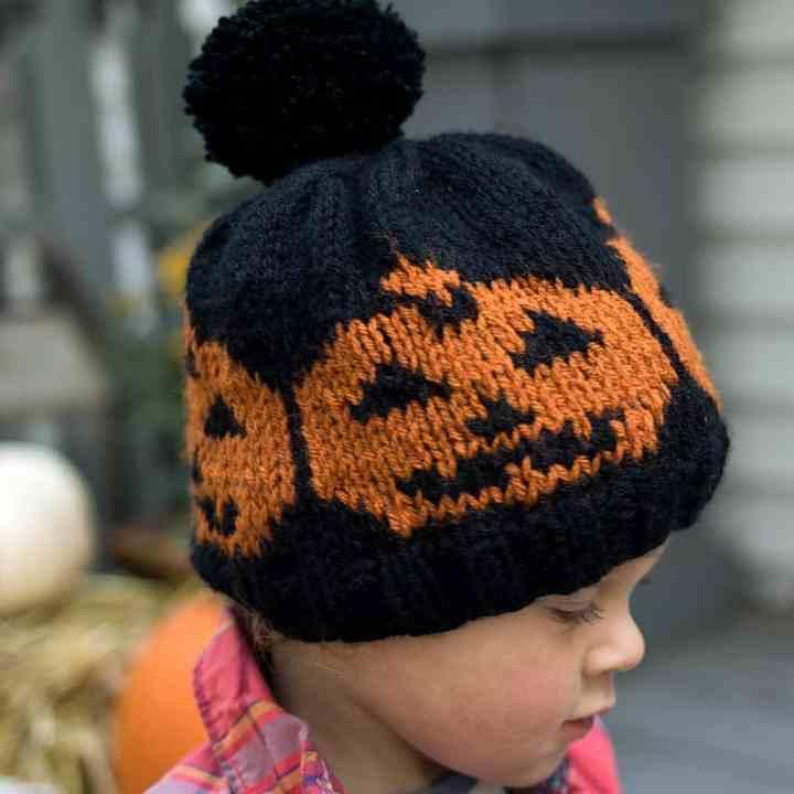 Kids Colorwork Pumpkin Hat Knitting Pattern