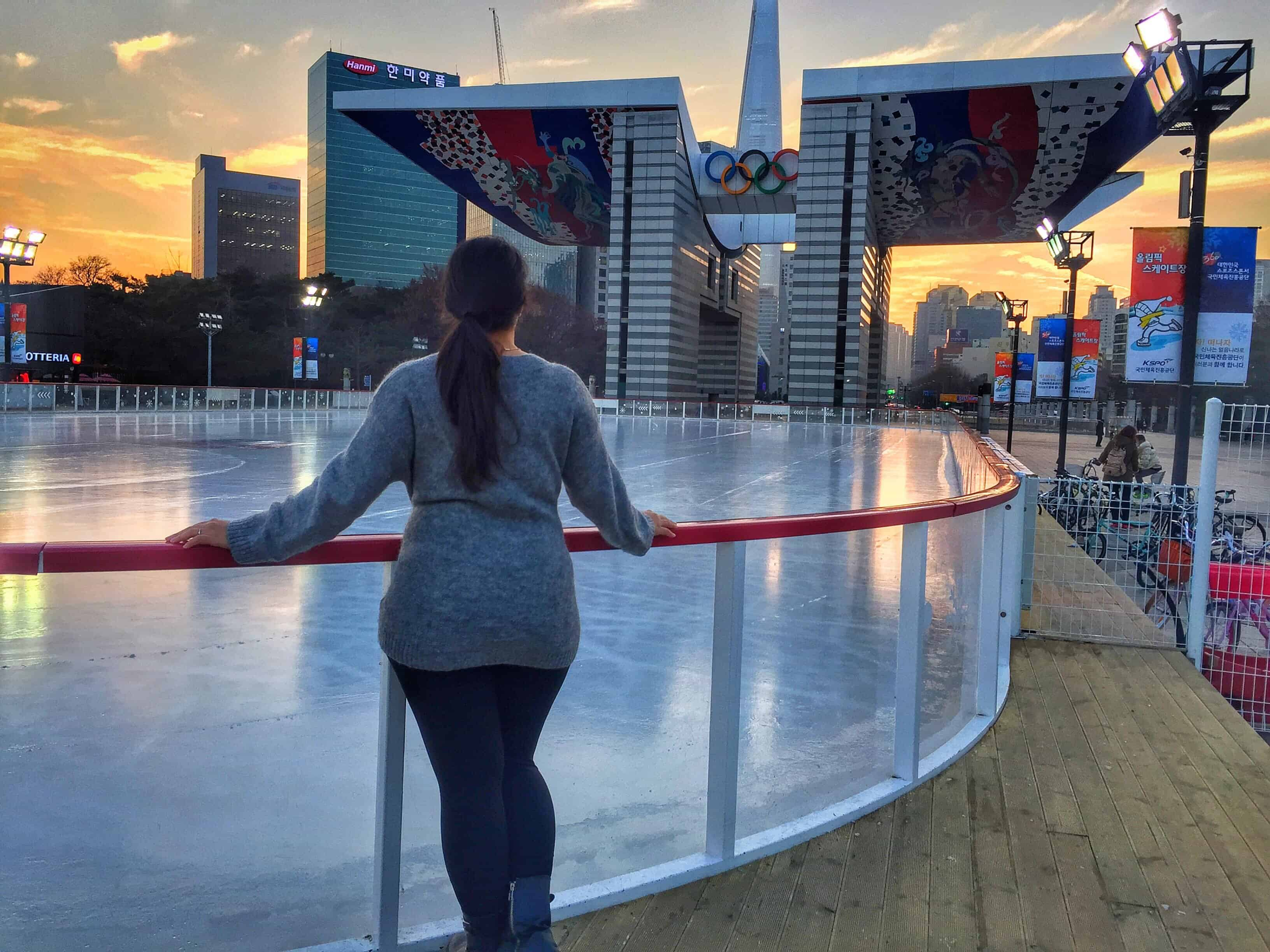 Olympic Park Has An Ice Rink At The Main Entrance And Its Pretty Cheap 3000 Won Yall To Rent Skates Buy Snacks