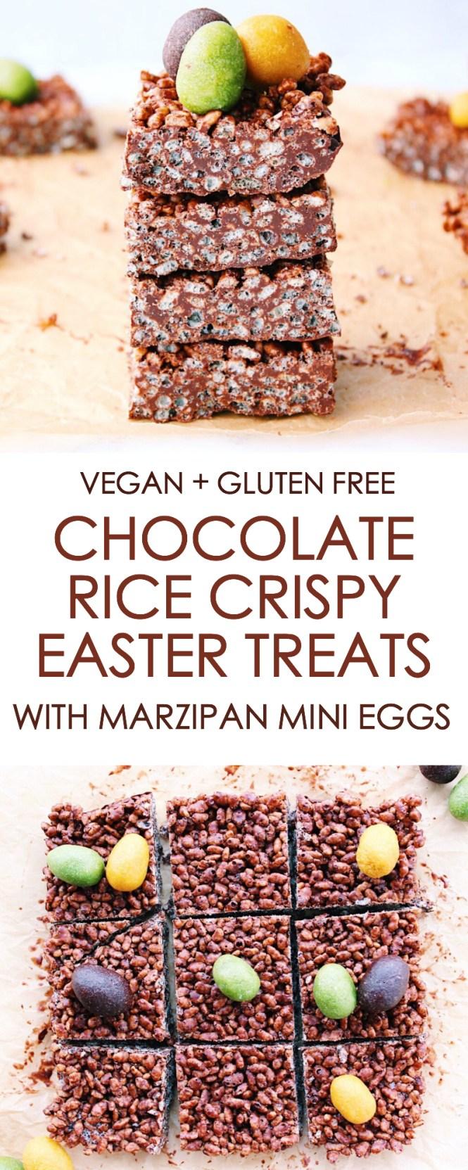 Chocolate Rice Crispy Treats with Marzipan Mini Eggs