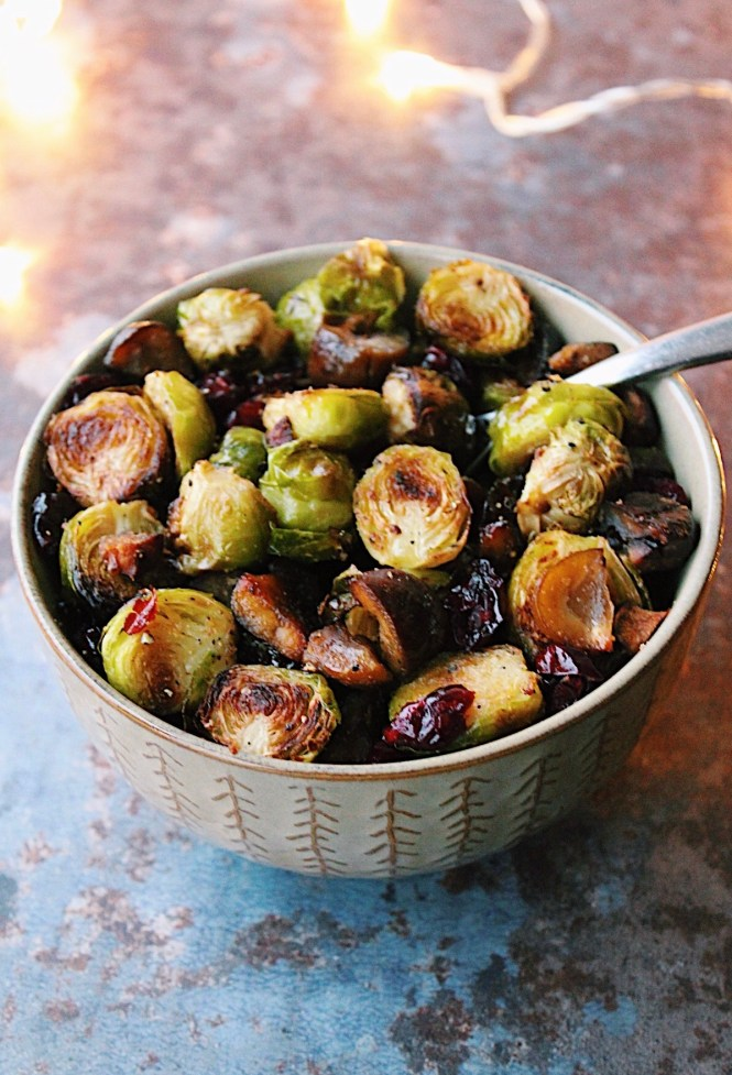 Roasted Brussel Sprouts with Chestnuts and Dried Cranberries {vegan, gluten free}