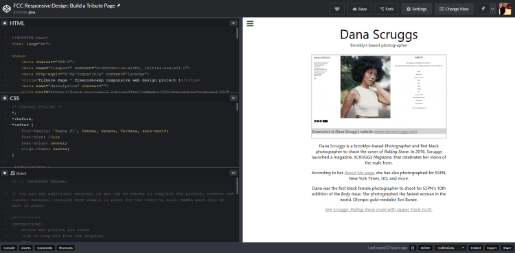 screenshot of my CodePen.io tribute page app