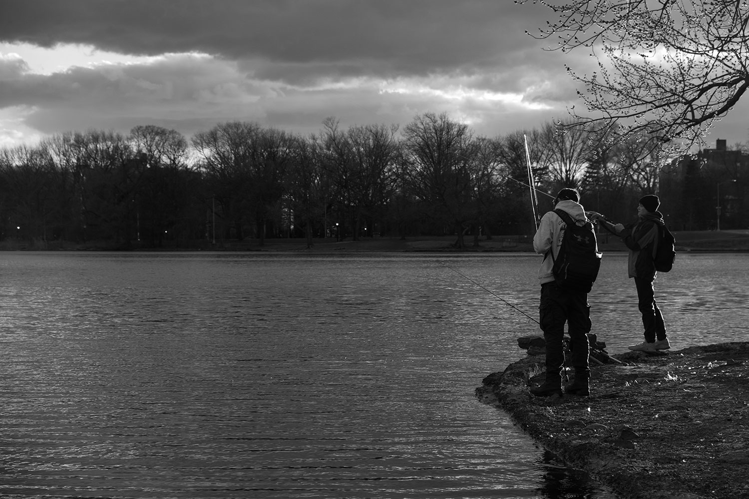 two kids fish at Prospect Park