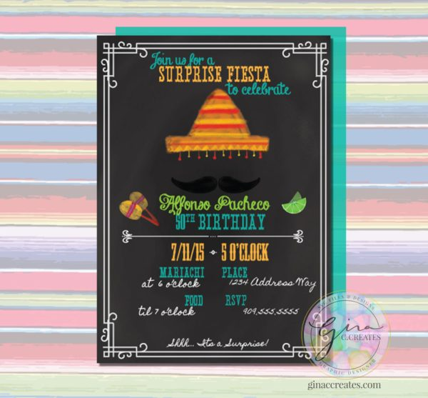 chalk board fiesta Mexican mustache party invitation