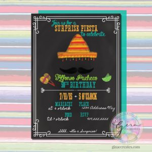 chalk board fiesta Mexican mustache party invitation