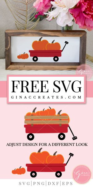 pumpkin with red wagon svg