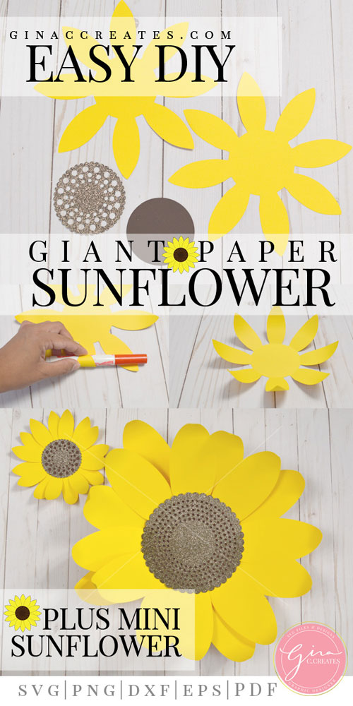 photograph relating to Sunflower Template Printable named Do it yourself Paper Sunflower with no cost SVG template Gina C. Produces
