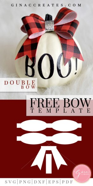 free double hair bow free template and svg
