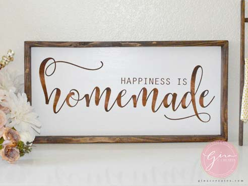 happiness is homemade sign painted