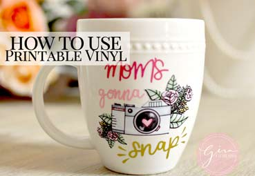 picture regarding Printable 651 Vinyl identified as How in direction of hire Printable Water-resistant Vinyl upon a mug Gina C. Makes