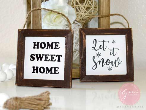 mini reverse canvas home decor signs