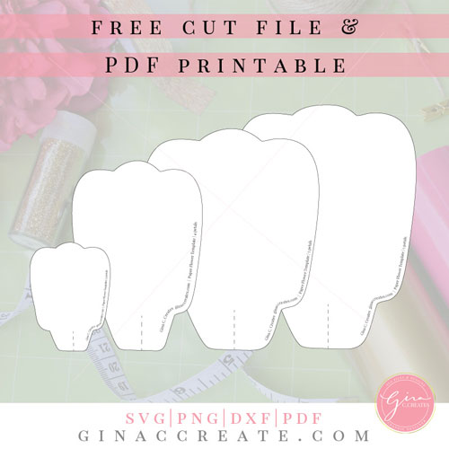 graphic relating to Free Printable Paper Flower Templates identify Cost-free SVG Printable Paper Flower Template Gina C. Generates