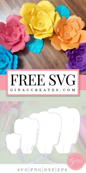 Free Paper Flower Template Printable Cut File Gina C Creates