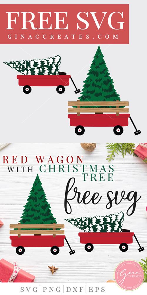 red wagon christmas tree svg