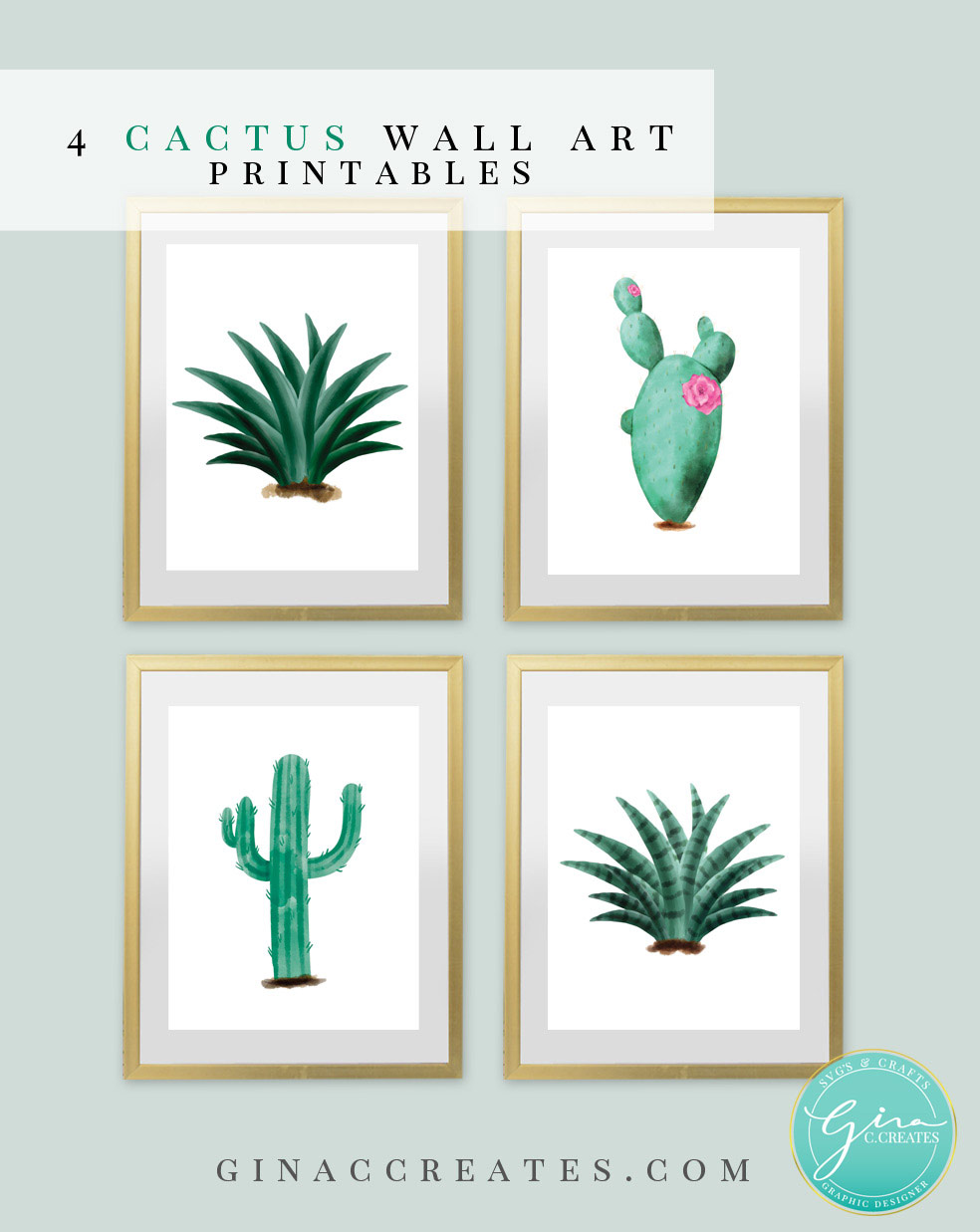 photo regarding Printable Art Free referred to as Cactus Wall Artwork Absolutely free Printable Gina C. Produces