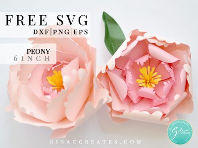 small peony paper flower free svg