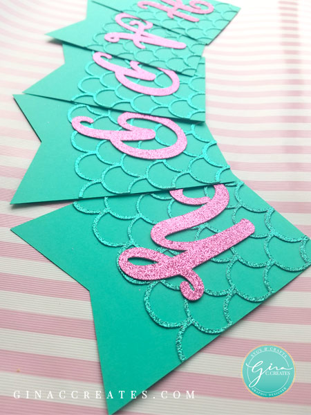 teal glitter mermaid party banner, free svg for cricut