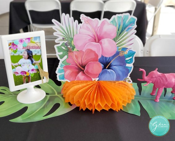 tropical party centerpiece idea wild animals