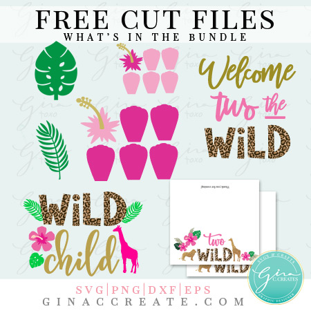 free two wild birthday party cut files