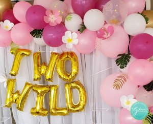 two wild birthday idea, pink and gold safari