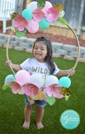 tropical birthday photo prop hoop frame, paper flowers