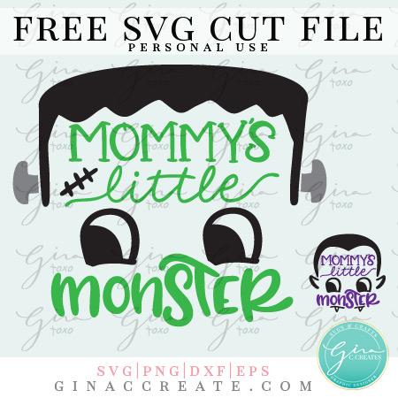 Frankenstein Mommy's little monster free svg cut file