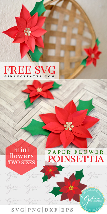 paper flower christmas poinsettia free svg template