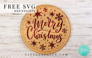 free svg Merry Christmas with snowflakes