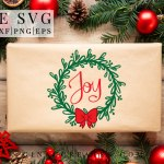 joy Christmas wreath free svg
