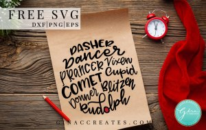 reindeer names free svg, christmas craft svg file