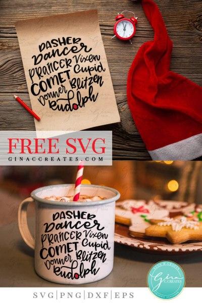 reindeer names free svg, christmas craft svg file