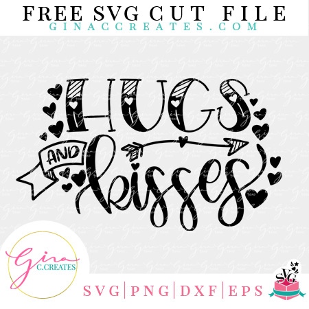 valentine's day free svg cut file, hugs and kisses svg